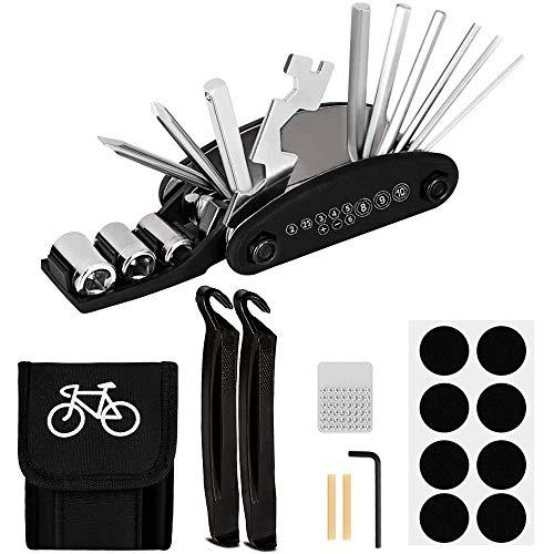 HQCM Fahrrad-Multitool, 16 in 1 Werkzeuge für Fahrrad Reparatur Multi-Tool Set Fahrradwerkzeug mit Tasche, Selbstklebendes Fahrradflicken, Reifenheber