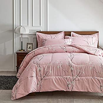 AIKASY Bed in a Bag 7 Pieces Queen Size - Floral Print - Soft Microfiber Reversible Bed Comforter Set  1 Comforter 2 Pillow Shams 1 Flat Sheet 1 Fitted Sheet 2 Pillowcases (Pink Queen)