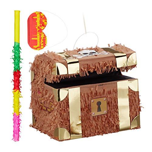 Relaxdays Piñata Infantil Cofre del Tesoro XXL con Palo y Antifaz, Papel, Marrón, 27 x 30 x 23 cm