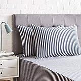 Amazon Basics-Juego de 2 fundas de almohada, diseño de rayas, 50 x 80 cm, Azul Marino