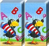 20 Taschentücher (2x10) Rabe Socke ABC | Schulanfang | Einschulung | ABC