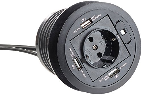 revolt Kabeldurchführung: Aktiver 3-fach-USB-2.0-Hub für Tisch-Einbau, mit Steckdose, 80 mm (Steckdosenleiste mit USB)