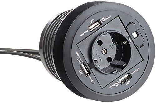 revolt Kabeldurchführung: Aktiver 3-fach-USB-2.0-Hub für Tisch-Einbau, mit Steckdose, 80 mm (Kabeldurchlass)