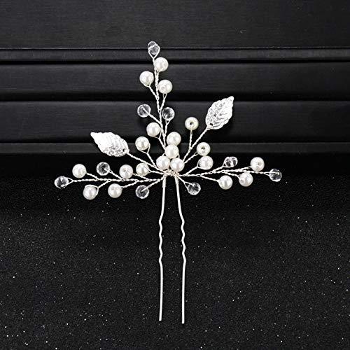 ASDAHSFGMN Bridal Hair Accessories Flower Crystal Pearl Wedding Hair Pins for Women Bridal Hair Accessories Wedding Headpiece Hair ornaments Jewelry (Metal color : 15)