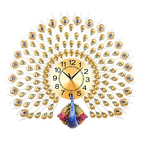 LANGSHI Home Decor European Peacock Wanduhr Kristall Luxus Wohnzimmer Uhr kreative Persönlichkeit Moderne Kunst Dekoration Wanduhr Mute Wanduhr Quarzuhr Art Deco 70cm * 65cm