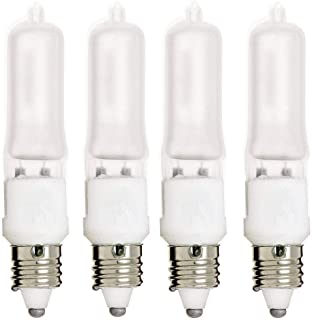 E11 Bulb, 4 Pack 120V 75W T4 E11 Base Halogen Light Bulbs, Mini Candelabra Flood Light,Long Lasting Life Dimmable – Frosted (Warm White)