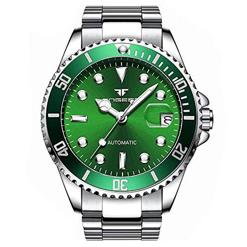 Reloj Automático Clásico con máquina a la Vista y Pulsera de Acero Inoxidable para Hombre (Verde)