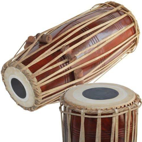Mridangam Mridangam en bois massif fabriqué à la main – Couleur marron du nord de l'Inde –...