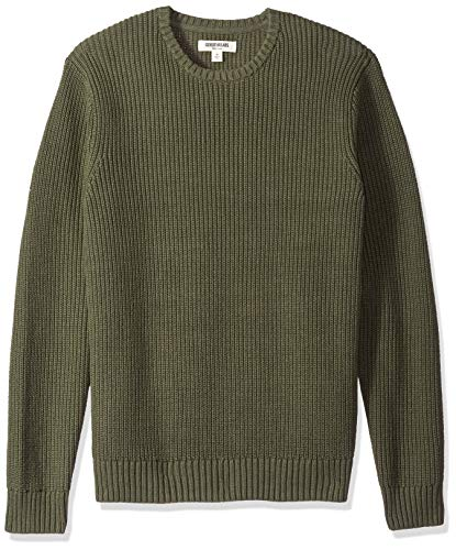 Amazon Brand - Goodthreads Men's Soft Cotton Rib Stitch Crewneck Sweater, Solid Olive, Large