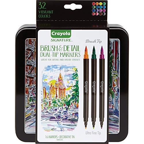 Crayola Brush & Detail Dual Tip Markers, Kids At Home Activities, 32 Colors, 16 Count