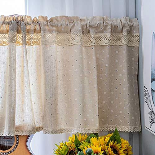 Media Cortina Cortinas Cortas Algodón Térmica Aislante Translucida Mini Visillo Cortinas Salón Comedor Balcon Cocina Media Ventana 140 X 40 Cm