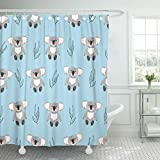KUKUALE 1 Piece Pink Pattern Cute Watercolor Koala Bears On Blue Kids Shower Curtain Polyester Fabric Set with Hooks 180X180Cm(71X71In)