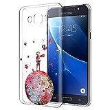 YOEDGE Funda Samsung Galaxy J7 2016 Ultra Slim Cárcasa Silicona Transparente con Dibujos Animados Diseño Patrón [El Principito] Resistente Bumper Case Cover para Samsung Galaxy J7 2016 (Rojo)