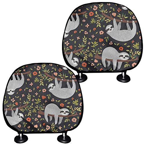 JOAIFO Set of 2 Baby Sloth Sleeping on Tree Prints Headrest Cover for Cars, Universal Bucket Seat Head Rest Protector Fit for Most Sedan SUV Sedan Truck