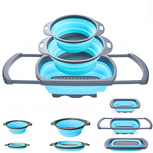 Collapsible Colander - Over the kitchen sink strainer - Silicone Kitchen Strainer Set of 3-6 quart,3 Quart and 2 Quart for Draining Pasta, Vegetable and Fruit(Blue)