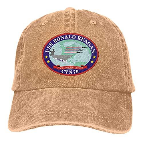 Ameok-Design USS Ronald Reagan Vintage Baseball Cap Trucker Hat für Damen und Herren CVN-76