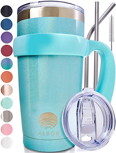 ALBOR Triple Insulated Stainless Steel Tumbler 20 oz Shimmer Blue Coffee Travel Mug With Handle