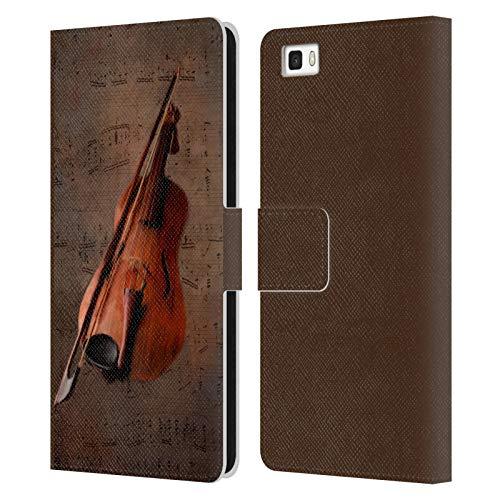 Head Case Designs Offizielle Simone Gatterwe Geige Vintage Und Steampunk Leder Brieftaschen Huelle kompatibel mit Huawei P8lite / ALE-L21