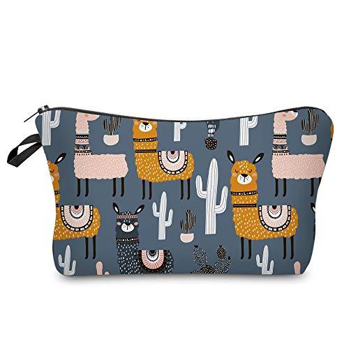 LOOMILOO Small Makeup Bag Brown Llama Cosmetic Bags for Women and...