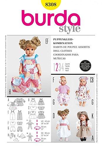 Burda Schnittmuster 8308–Puppe Kleidung & Accessoires