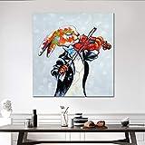 RBTT Handgemaltes Ölgemälde Bunte Kaninchen Spielen Geige mit schwarzem Mantel Leinwand abstrakte Phantasie Wandbildern für Hotels Hausbar Arbeitszimmer,40 * 40cm