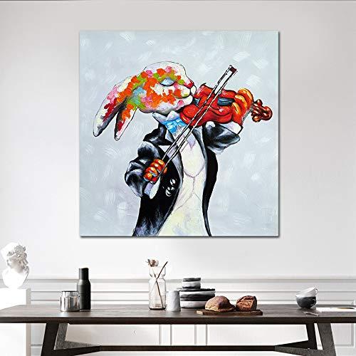 RBTT Handgemaltes Ölgemälde Bunte Kaninchen Spielen Geige mit schwarzem Mantel Leinwand abstrakte Phantasie Wandbildern für Hotels Hausbar Arbeitszimmer,60 * 60cm