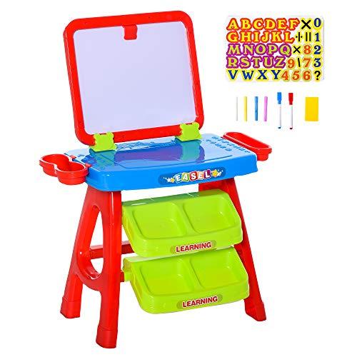 homcom Banco con Lavagna Magnetica per Bambini, Gioco Educativo con Pennarelli, Gessetti e Lettere Magnetiche 3-6 Anni, 56x39.5x74cm