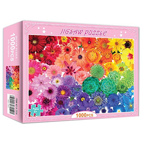 Jigsaw Puzzle 1000 Pieces for Children and Adult, Brain IQ Developing Magical Game Jigsaw, Jigsaw Puzzle Stress Relief Game (Rainbow Flower)
