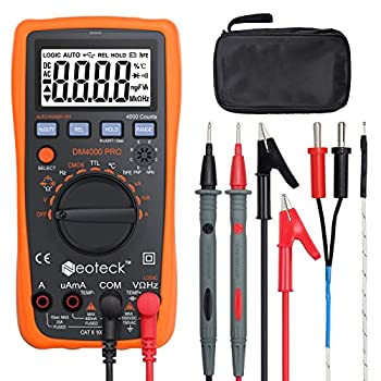 Neoteck Auto Ranging Digital Multimeter with Portable Case 4000 Counts Volt Meter for AC/DC Volt Current Resistance Capacitance Frequency Temperature CMOS and TTL Duty Cycle Transistor Diode