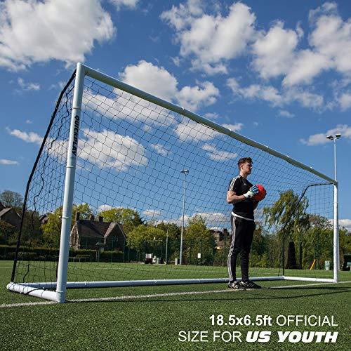 QuickPlay Pro Match portería de fútbol Plegable [Individual] | tamaños: 1,8 x 1,2 m, 2,4 x 1,5m, 3,6 x 1,8 m, Coinciden con porterías estándar (5.6 x 1.9M)