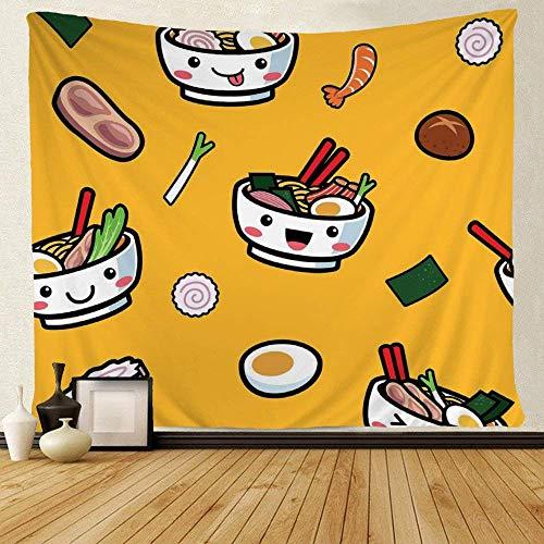 Wandteppich, japanisches Essen, handgezogene Nudeln, Wandbehang für Zuhause, Dekoration, Wandkunst für Wohnzimmer, Schlafzimmer, Schlafsaal, Dekoration, 152,4 x 101,6 cm