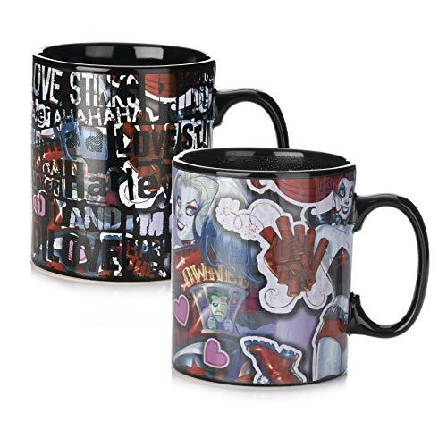 Paladone 5055964742416 Harley Quinn - Taza de café con cambio de calor, diseño de bebidas sensibles, cerámica
