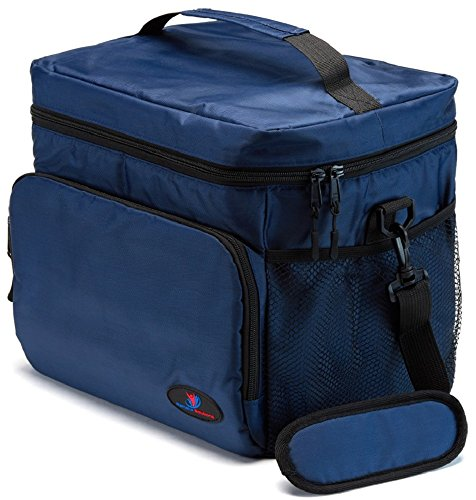 Insulated Lunch Box for Men | Lunch Cooler Bag | Lunch Boxes for Adults | Large Lunch Bag | Nylon Mens Lunch Box by Ramaka Solutions | Non-Toxic Stain Resistant | 11.6 x 9.1 x 10.6 Inches Navy