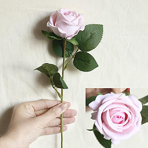 LIAWEI 10 PCS Artificial Roses,20'' Single Long Stem Fake Rose Bridal Wedding Bouquet Realistic Flower for Home Garden Party Hotel Office Decor,Artificial Flowers Birthday Party Arrangment
