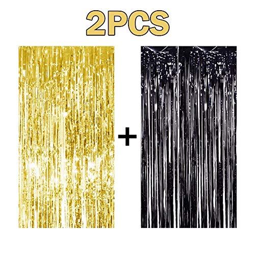 Niceclub - 2 Cortinas con Flecos de Papel de Aluminio Dorado y Negro m
