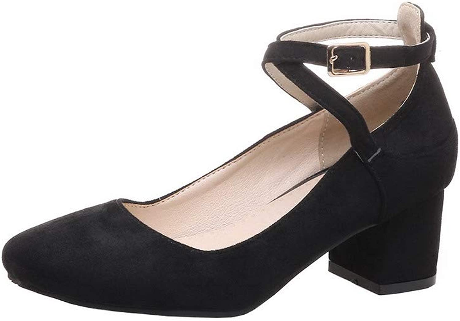 WeenFashion Women's Buckle Kitten-Heels Frosted Pumps-shoes, AMGDX006746