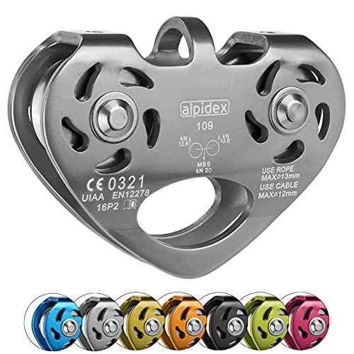 ALPIDEX Seilrolle Tandem Pulley Umlenkrolle Doppelseilrolle - geeignet für Stahlseile 8-12 mm Ø und Textilseile bis 13 mm Ø, Farbe:Silber