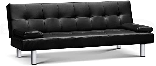 Artiss Sofa Bed Adjustable 3 Seater Couch Recliner Leather Lounge, Black
