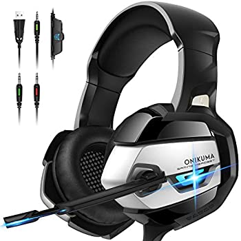 ONIKUMA Gaming Headset - Xbox 360 Headset [2019 K5 Pro] with Noise Canceling Mic &7.1 Surround Bass Over Ear Gaming Headphones for Xbox 360 Xbox One PS4 PC Mac Laptop NS