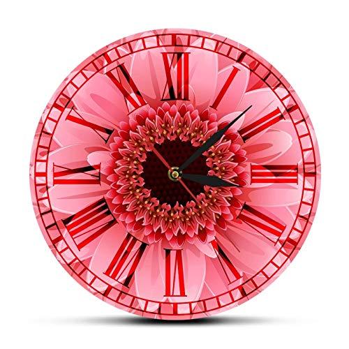 gongyu Reloj de Pared Romano Retro Rosa, crisantemo Rosa, Margarita, Acuarela, decoración de Pared Floral, Reloj de Bolsillo con Movimiento silencioso