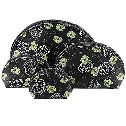 F.ZH コスメポーチ 化粧ポーチ トラベルポーチ バニティポーチ メイクバッグ 化粧品バッグ 可愛い 花柄 洗面用具収納 出張 旅行用 小物ポーチ 4点セット (ブラック/ローズ)