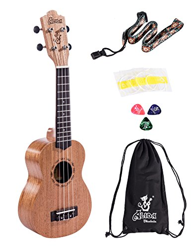 Alida Mahogany Soprano Ukuleles included Carrying Bag, Strap, Spare Strings and Picks Kid Guitar