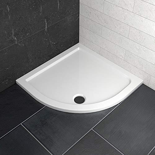 WELMAX Weiß Duschwanne Duschtasse Viertelkreis 90x90 cm Flach Bad Brausewanne Radius 55cm