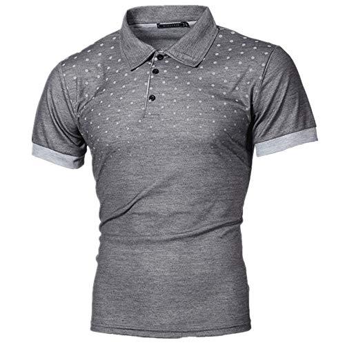 CFWL Sommer T-Shirt Herren Kurzarmhemd Mode Kurzarm Bedruckt Schmal Geschnittene Kurzarm Kariert Hawaii Herren-Hemd Slim-Fit Kurzarm-Hemden Herren-Leinenshirt,Schmale Passform Grau 5XL