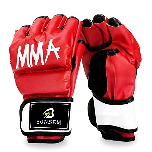 Half-Finger MMA Boxhandschuhe mit Klettverschluss Wrist Band Dickes Polster zum Stanzen schwerer Tasche Kick-Boxing-Klasse Muay Thai - schwarz Leder Kampfkünste Kampfhandschuhe