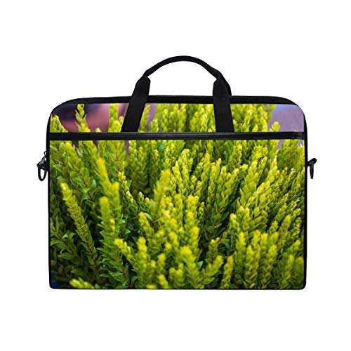 Laptop Sleeve Case,Laptop Bag,Green Fir Myrtle Branches Plants Water Briefcase Messenger Notebook Computer Bag with Shoulder Strap Handle,29×40 CM/15.6 Inch