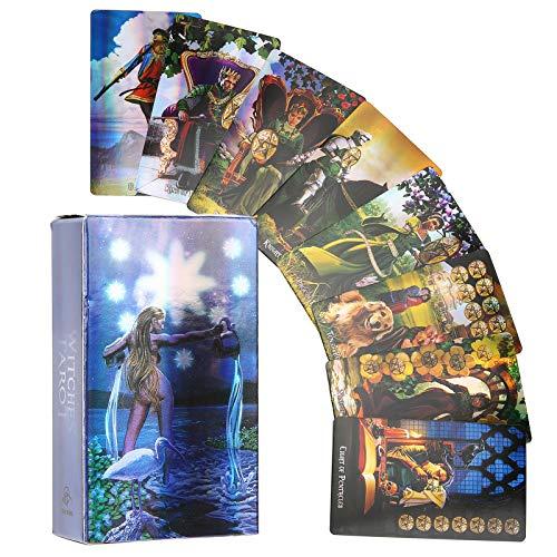 Fockety Tarot-Karte, 78 Tarot-Karten Hologramm-Papier Flash Witch Tarot-Karten Deck Klassisch Englisch Future Telling Game Divination Card Interaktives Brettspiel mit Bunter Box für Anfänger(#1)