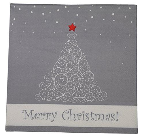 khevga 40 Servietten weiß grau/gold weiß Weihnachten 33 x 33 cm (grau)