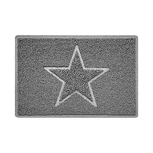 Nicoman Estrella - Felpudo Logotipo en Relieve Rizos de Vinilo Entrada Bienvenido Lavable Alfombra - (Usar en Interiores y Exteriores), Pequeño (60x40cm), Gris