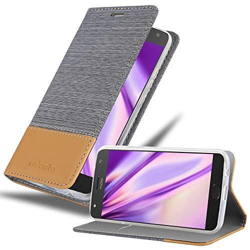 Cadorabo Hülle für Motorola Moto X4 in HELL GRAU BRAUN - Handyhülle mit Magnetverschluss, Standfunktion & Kartenfach - Hülle Cover Schutzhülle Etui Tasche Book Klapp Style